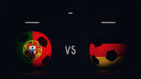 Portugal vs Germany football matchday announcement. Two soccer balls with country flags, showing match infographic, isolated on black background with scoreboard copy space.