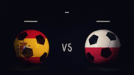 Spain vs Poland football matchday announcement. Two soccer balls with country flags, showing match infographic, isolated on black background with scoreboard copy space. Standard-Bild