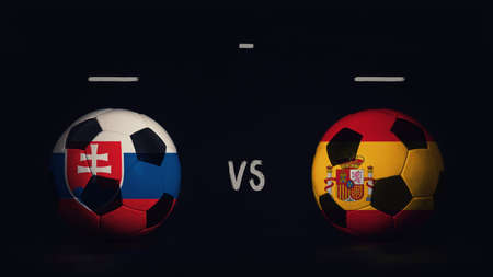 Slovakia vs Spain football matchday announcement. Two soccer balls with country flags, showing match infographic, isolated on black background with scoreboard copy space.