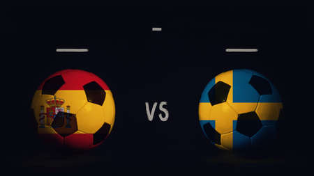 Spain vs Sweden football matchday announcement. Two soccer balls with country flags, showing match infographic, isolated on black background with scoreboard copy space.