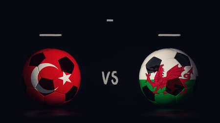 Turkey vs Wales football matchday announcement. Two soccer balls with country flags, showing match infographic, isolated on black background with scoreboard copy space.