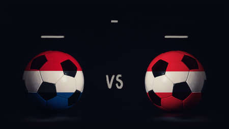 Netherlands vs Austria football matchday announcement. Two soccer balls with country flags, showing match infographic, isolated on black background with scoreboard copy space. Standard-Bild