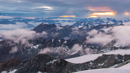 grossglockner: Landscape in the Alpes. Picture taken from Grossglockner peak(3798). Stock Photo
