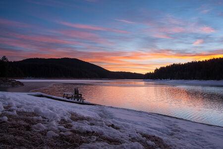 Sunrise over a mountain lake in Bulgaria. photo