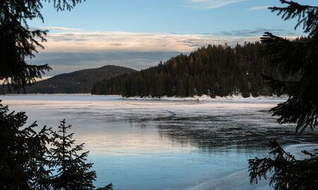 frozen lake: Bevroren meer in het dennenbos. Rhodope berg, Bulgarije.