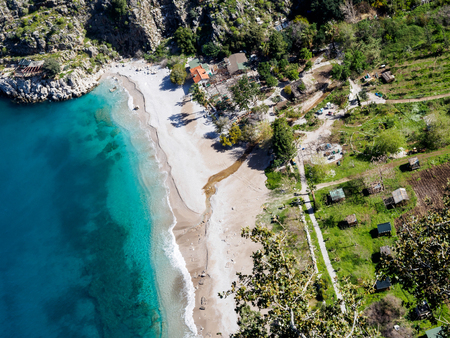 beach butterfly: Aerial view of beautiful beach called Butterfly valley in Turkey.