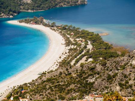 blue lagoon: Beach of blue lagoon. Oludeniz, Fethiye, Turkey.