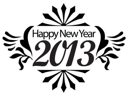 Happy New Year 2013 Black and White Illustration