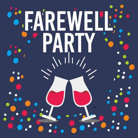 Płaski projekt Farewell Party na niebiesko