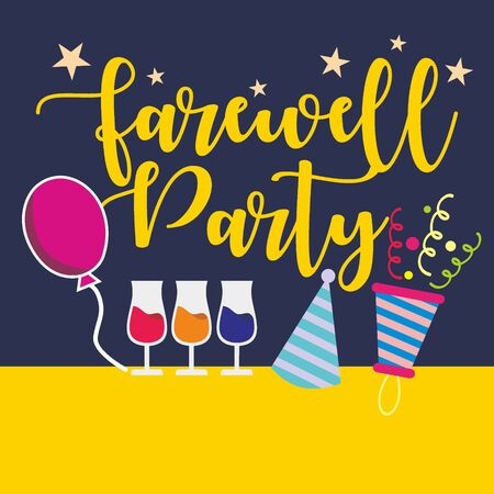 Flat Farewell Party design on yellow and blue