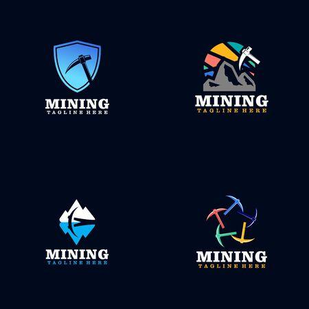 Flat Mining Logos Design Logos
