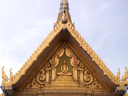 Golden gable chapel of sothon Wararam worawihan temple. Stock Photo