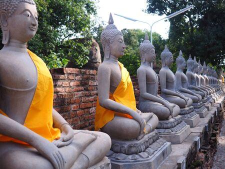 chaimongkol: line of buddha statue in chaimongkol temple, ayutthaya, Thailand