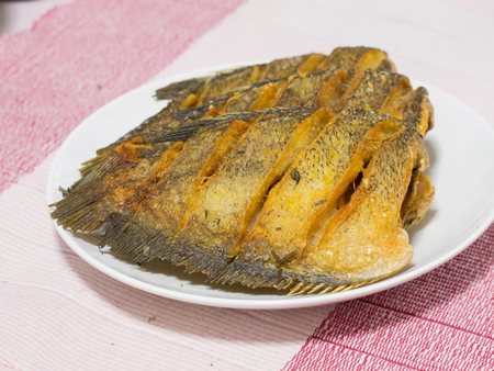 Dried Fried Snake Skin Gourami Fish, Thailand call Pla Salid, fish fry