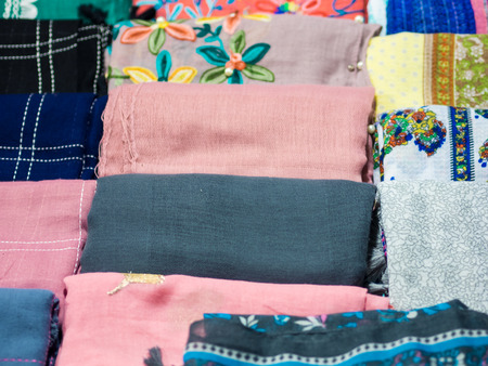 furniture store: Colorful fabric or scarf  texture, sale in market, homemade
