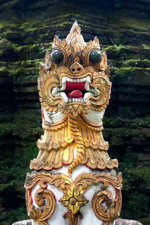 Singha, Dragon, or Naga image in Wat Pharlad, Chiang Mai, Thailand Stock Photo