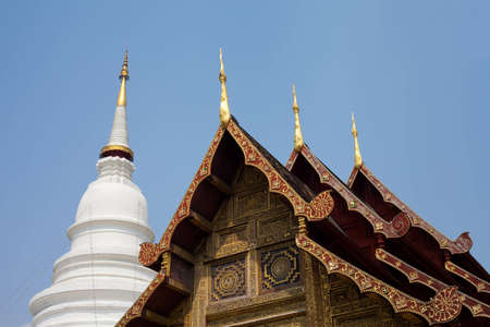 Gable apex wiht Big Pagoda of Lanna Thai temple Stock Photo - 12516604