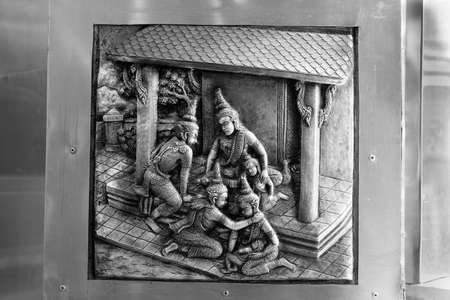 Scene from Ramayana, Aluminum Handicraft, Chiangmai, Thailand Editorial