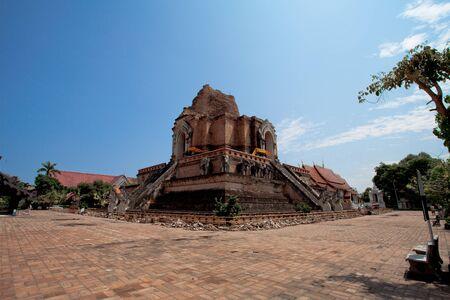 Buddhist pagoda at Wat Chedi Luang, Chiang Mai, Thailand