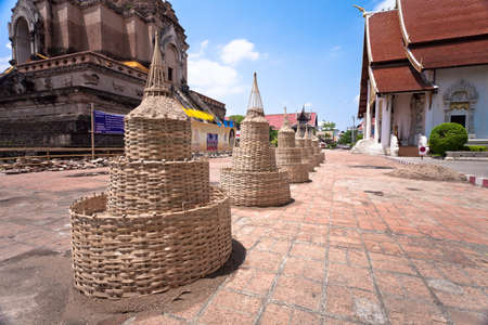 Temple will prepare wood structure of sand pagoda and people will bring sand to build in Song Kran Festival day, Chiang Mai, Thailand Stock Photo - 13096900