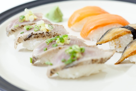 Set of sushi contains salmon, unagi, katsuo with wasabi Stock Photo