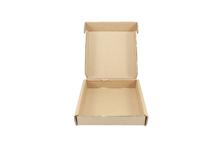 Isolated brown corrugated box