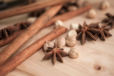 cardamon: Spices set which contain Cinnamon, Cardamon Fruit, Star Anise