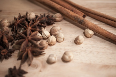 Spices set which contain Cinnamon, Cardamon Fruit, Star Anise