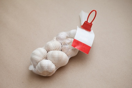 A bag of Garlic with Label photo
