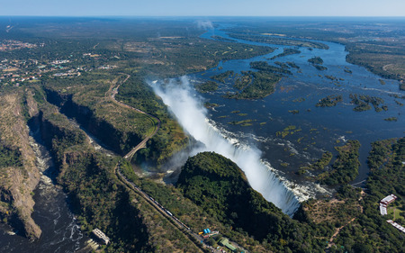 View of the Victoria Falls in Zimbabwe from a helicopter in the month of May