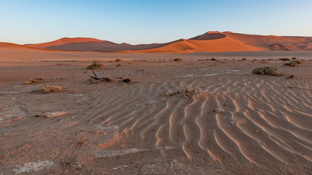 Sunrise in the dunes at Sossusvlei, part of the Namib Naukluft Park in Namibia