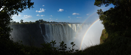 View of the main falls at Victoria Falls in Zimbabwe in the month of May