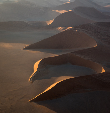 View from a helicopter of the dunes at Sossusvlei, Namibia Stok Fotoğraf