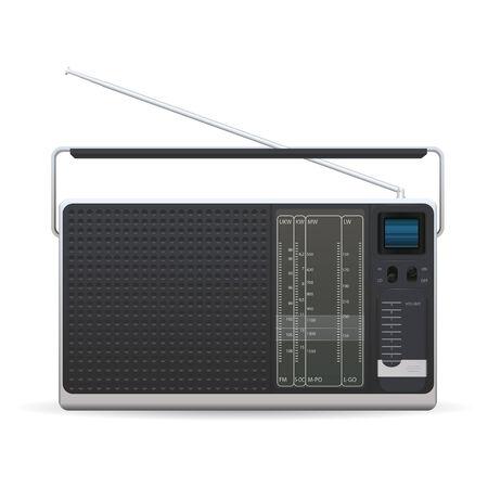 Old Fashioned radio su uno sfondo bianco Vettoriali