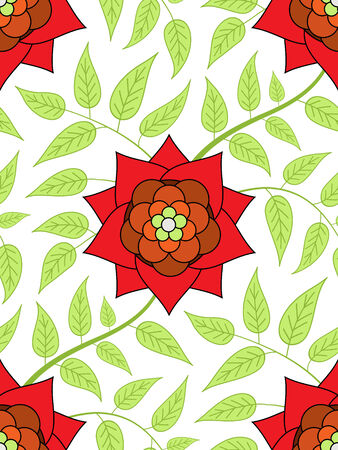Red flower seamless pattern with green leaves Vector