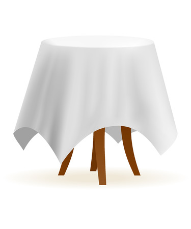 cafe table: Small and round cafe table with white table-cloth Illustration