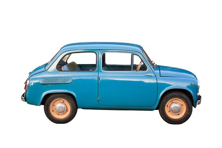 Blue subcompact Soviet old-timer car isolated on white background photo