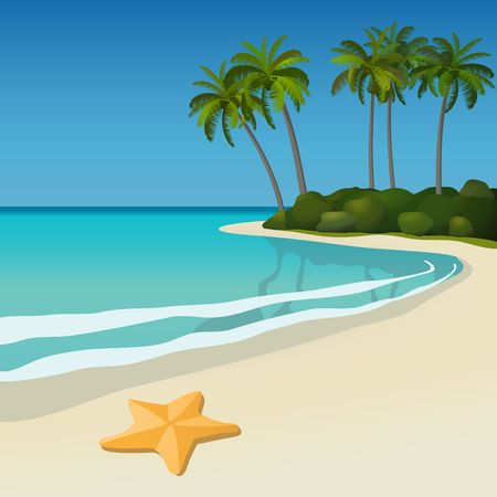 Illustration of a white sand tropical beach with palm trees and a starfish. Vector