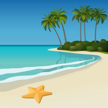 Ilustración de una playa de blanca arena tropical con palmeras y una estrella de mar. Ilustración de vector