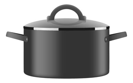Black shiny casserole with lid Vector