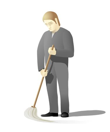 mop floor: Janitor holding a mop and cleaning the floor.