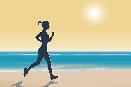 donna che corre: Illustrazione della donna in esecuzione su una spiaggia al tramonto