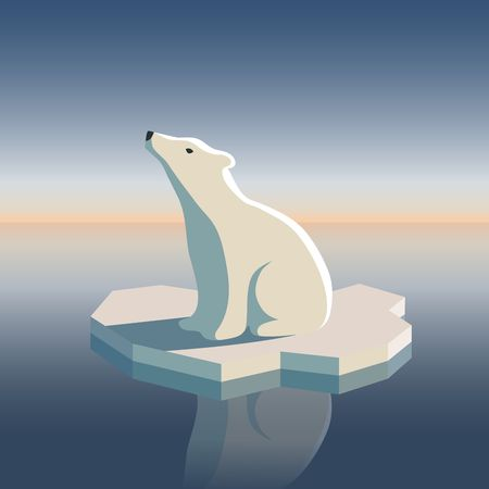 Illustration of polar bear on ice floe. Possible result of global warming.