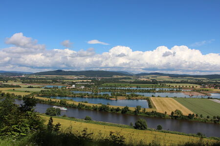 uplands: Weser Uplands with clouds Stock Photo