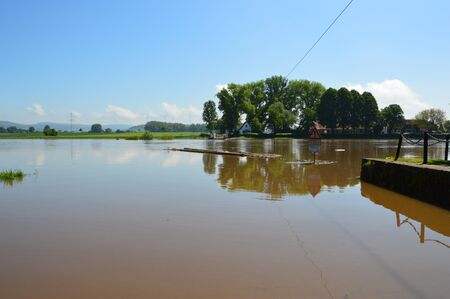 Flood on the river Weser in Germany