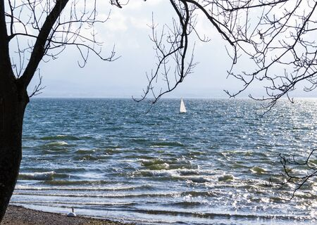A lonely Surfer tests the waters on a cold sping day at Lake Constance