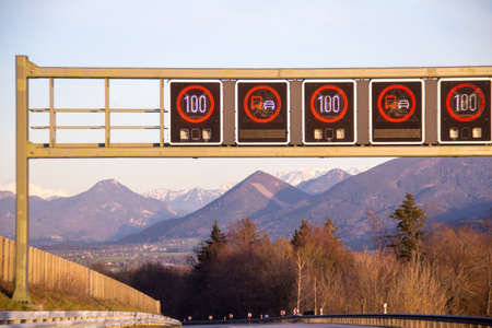 Digital signs informing about speed limit and other things on south german Highway