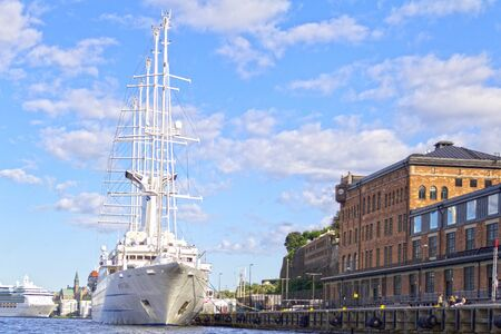 Stockholm, Sweden, August 11 2012: The Wind Surf, one of the largest sailing cruise ships in the world, makes a stop in Stockholm- Editorial