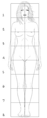 Female basic proportions Stock Photo