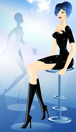 Beautiful woman in night club Stock Photo